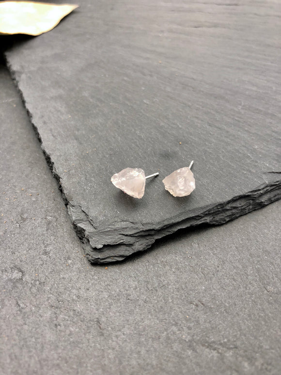 Raw Stone Rose Quartz Stud Earrings - Bauxpeep Boutique