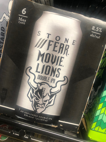Stone Fear. Movie. Lions. Double IPA 12oz Cans 6 pk