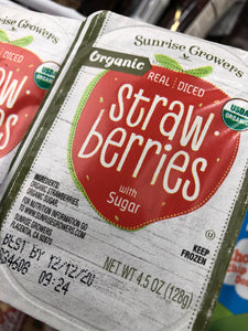 Organic Real Diced Strawberries with Sugar 4.5 oz