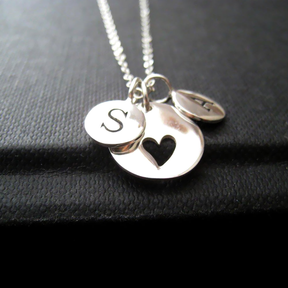 Personalized mom necklace, two initial heart cutout necklace, sterling silver, personalized gift for mother, anniversary gift for wife - RayK designs