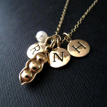 Load image into Gallery viewer, Personalized mom necklace, three peas in a pod & initial necklace, birthday gifts, mother of three children, 3 kids, initial charm, monogram - RayK designs