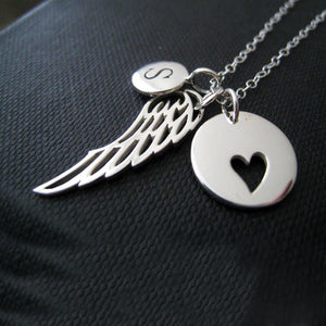 Personalized Angel wing necklace, memorial Initial necklace, angel wing charm, remembrance jewelry, gift, grief - RayK designs