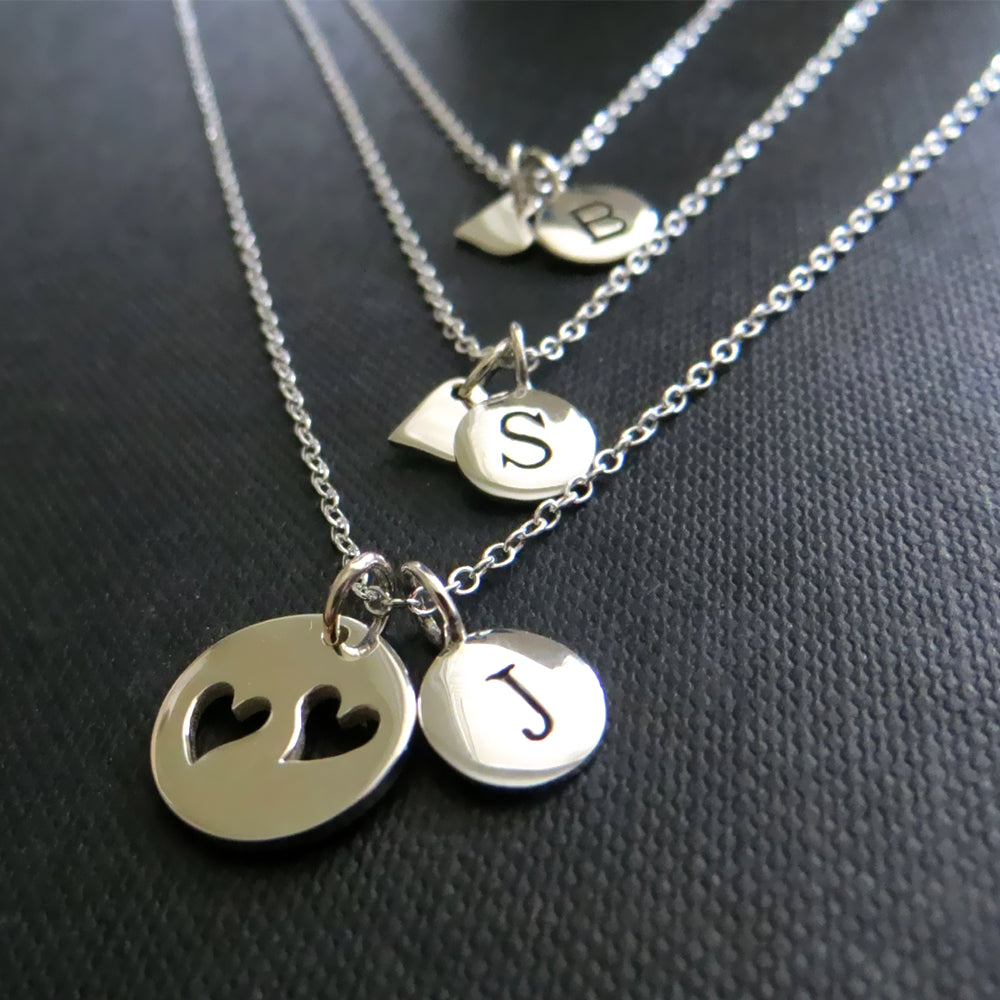 Personalized gift for mom, mother daughter initial heart necklace, personalized Christmas gift, sterling silver, sister, monogram jewelry - RayK designs