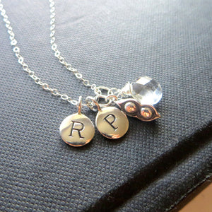 personalized two peas in a pod necklace, two kids initial necklace, gift for mother of two, mom of twin babies, two peas in a pod charm - RayK designs