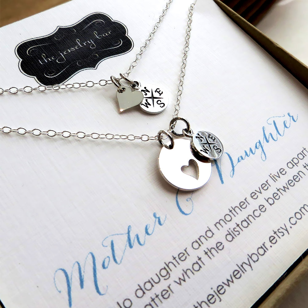 Mom daughter sterling compass necklace, going away gift for mom - RayK designs