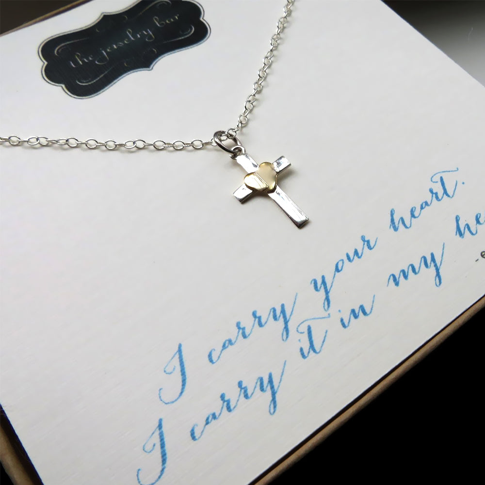 Gift for goddaughter, I carry your heart necklace, cross with gold heart accent, baptism, godchild gift, first communion, goddaughter gift - RayK designs