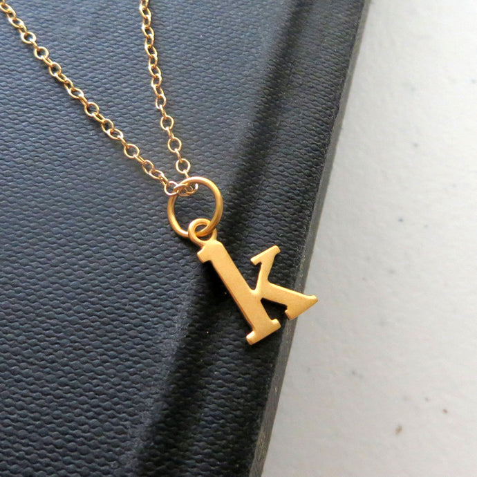 Lowercase initial necklace, personalized jewelry, typewriter font, gift for her, nymetals, on sale - RayK designs