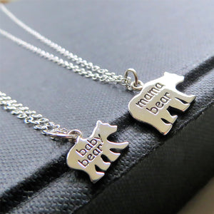 Mama & baby bear necklace, sterling silver mommy and me set - RayK designs