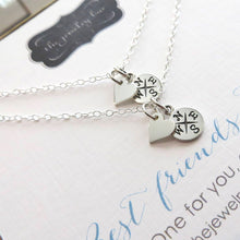 Load image into Gallery viewer, Long distance friendship gift, set of 2 heart & compass necklace, best friend jewelry, going away gift, one for you one for me, bestie gifts - RayK designs
