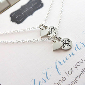 Long distance friendship gift, set of 2 heart & compass necklace, best friend jewelry, going away gift, one for you one for me, bestie gifts - RayK designs