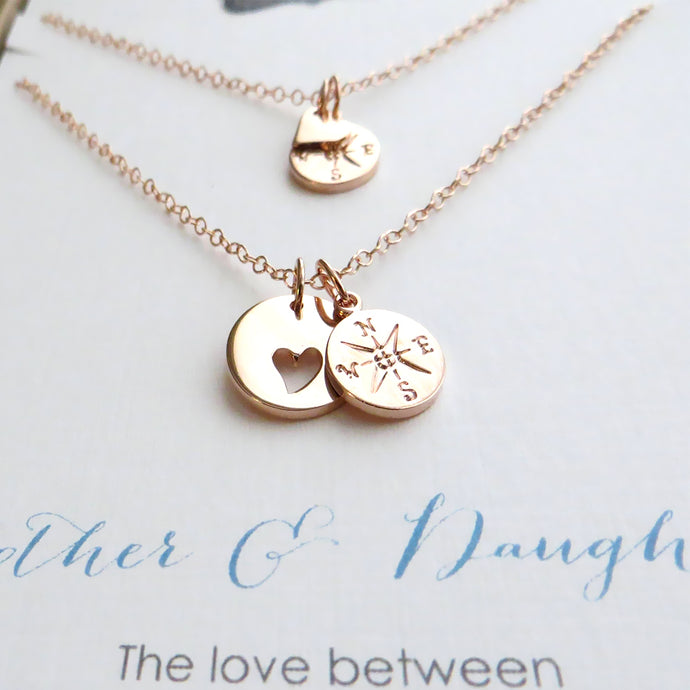 Mother daughter jewelry, rose gold heart cutout necklace with compass charm - RayK designs