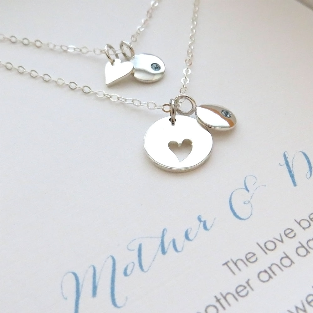 Mother daughter birthstone disk necklace set - RayK designs