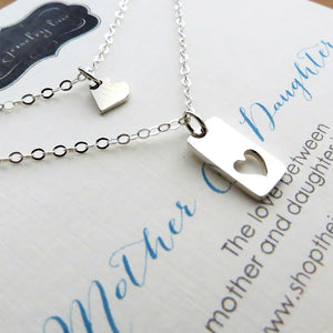 Stepdaughter stepmother heart necklace set - RayK designs