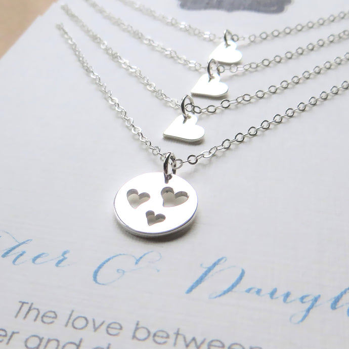 Mother 3 daughters jewelry, three heart cutout necklace, mom gift, sterling silver, birthday gift, celebration, Christmas gift - RayK designs
