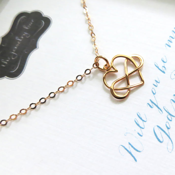 Godmother proposal gift, infinity heart necklace, will you be my godmother, rose gold finish, timeless, godmom gift from godchild - RayK designs