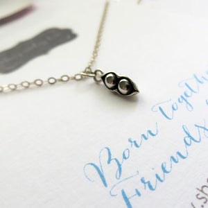 Twins necklace, two peas in a pod necklace, gift for twin sister, lightweight sterling silver, born together friends forever, twins, peapod - RayK designs