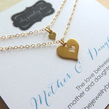 Load image into Gallery viewer, Gift for mom and daughter, heart cutout necklace set of 2, mother necklace, daughter necklace,  gold charm - RayK designs