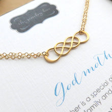 Load image into Gallery viewer, Godmother bracelet, interlocking infinity bracelet, Godmother gifts, mothers day gift for Godmother from goddaughter, godmom gift - RayK designs