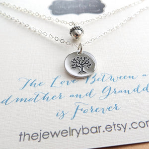 Grandmother granddaughter tree of life and acorn necklace set - RayK designs