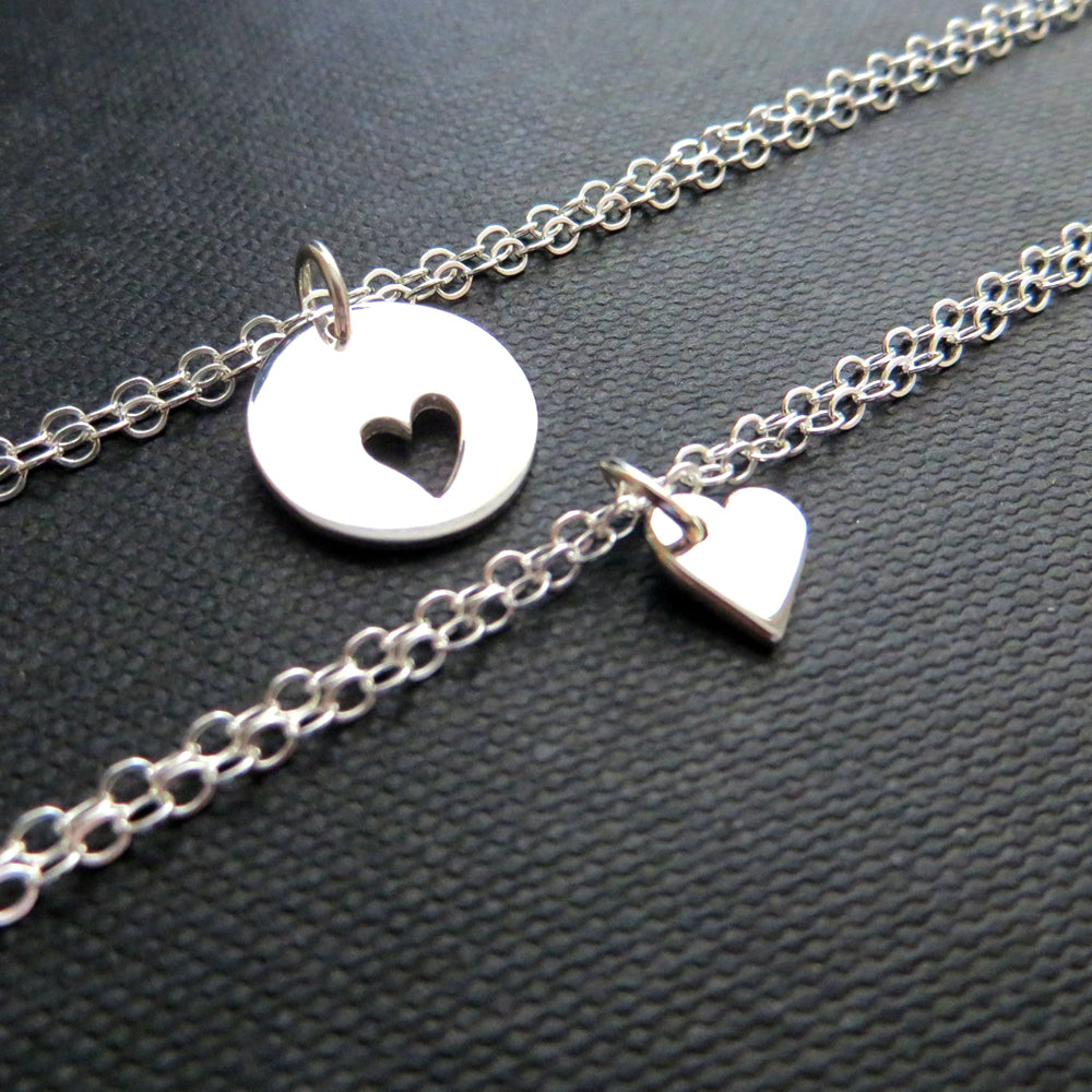 Mother of the bride gift from daughter, mother daughter bracelet set, sterling silver heart cutout charm, gift for mom from bride, mom gifts - RayK designs