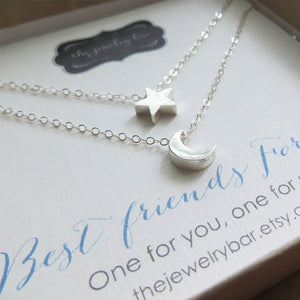 best friend moon and star necklace set of 2 - RayK designs