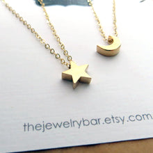 Load image into Gallery viewer, best friend moon and star necklace set of 2 - RayK designs