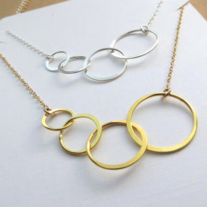 Generations jewelry, Eternity four circles necklace for great grandmother - RayK designs