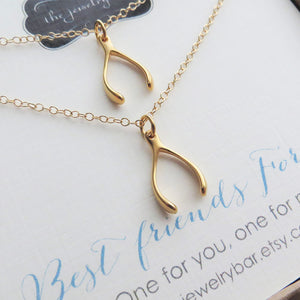 Best friends gift gold Wishbone necklace set of 2 - RayK designs
