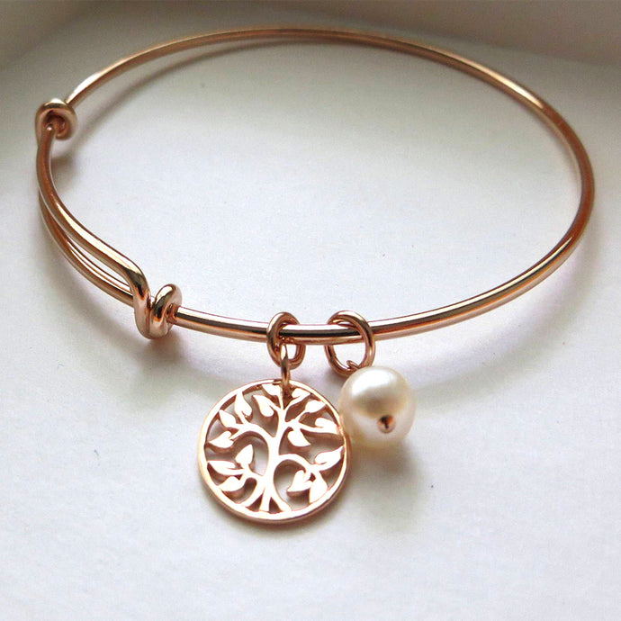 Godmother gift, rose gold tree of life bangle bracelet, godmother jewelry, baptism, christening, from goddaughter, Christmas gift - RayK designs