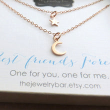 Load image into Gallery viewer, best friend rose gold moon and star necklace - RayK designs
