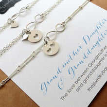 Load image into Gallery viewer, Three Generations set, infinity heart bracelets, Grandmother, mother daughter - RayK designs