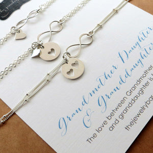 Three Generations set, infinity heart bracelets, Grandmother, mother daughter - RayK designs