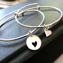 Load image into Gallery viewer, Mother of the bride gift, mother daughter sterling silver bangle, mother of the bride heart bracelet, matching set, wedding gift, Christmas - RayK designs