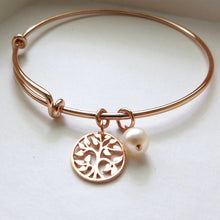 Load image into Gallery viewer, mother of the bride gift, rose gold tree of life bangle bracelet, mother in law, mom gifts, wedding jewelry, pink, pearl charm - RayK designs