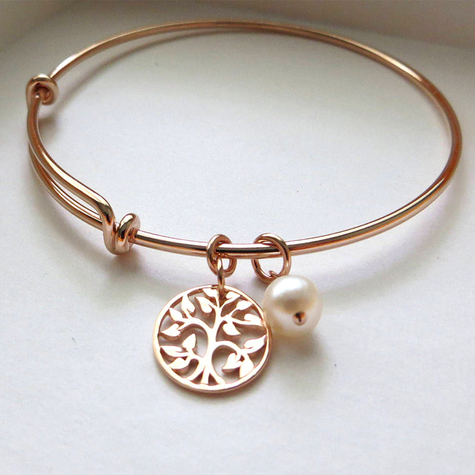 mother of the bride gift, rose gold tree of life bangle bracelet, mother in law, mom gifts, wedding jewelry, pink, pearl charm - RayK designs