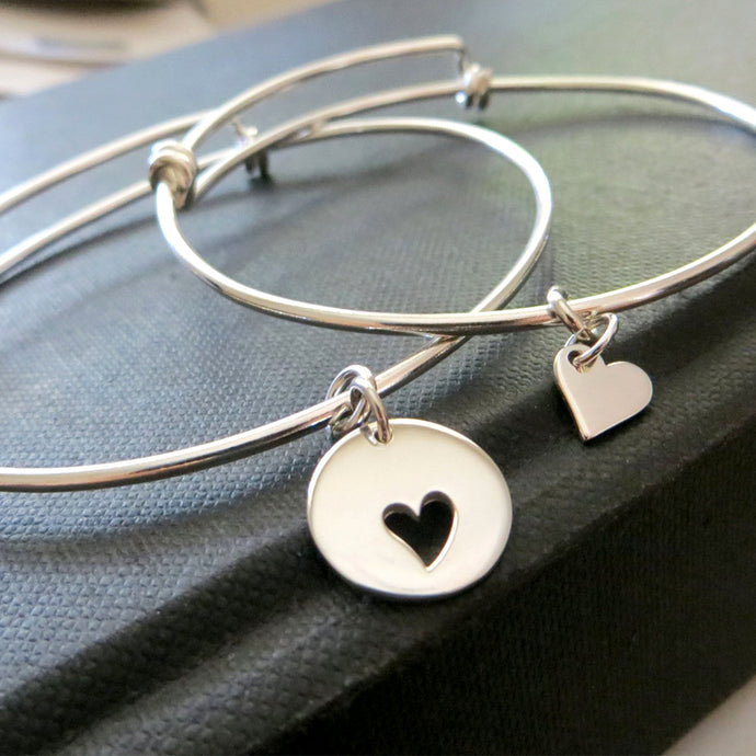Mother daughter heart bangle, mother daughter bracelet sets, sterling silver charm, mommy and me, love, mom birthday gift - RayK designs