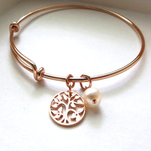 Load image into Gallery viewer, mother of the bride gift from daughter, rose gold tree of life bangle bracelet, mother in law gift, pearl, wedding day jewelry for mom - RayK designs