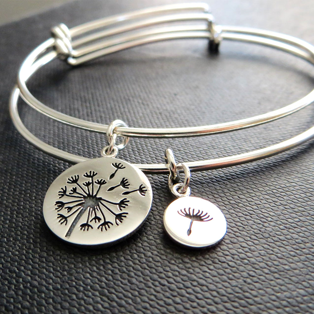 mother of the bride gift, dandelion bangle bracelet, mother daughter jewelry, flower charm, silver, wedding gift for mom, mother of bride - RayK designs