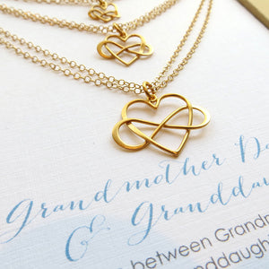 three generations jewelry, set of 3 infinity heart bracelets & card, grandmother, mother and daughter, generations, granddaughter - RayK designs
