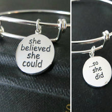 Load image into Gallery viewer, she believed she could so she did bangle bracelet, motivational jewelry, inspiration encouragement gift for her, sterling silver, graduation - RayK designs