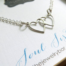Load image into Gallery viewer, Soul sisters necklace, double heart necklace, soul sisters gift, lightweight sterling silver, twin sister necklace, best friends gift, bff - RayK designs