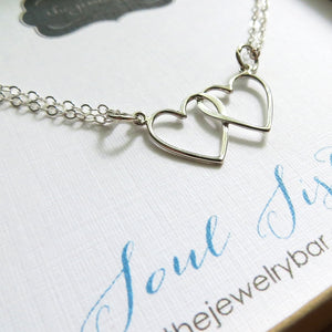 Soul sisters necklace, double heart necklace, soul sisters gift, lightweight sterling silver, twin sister necklace, best friends gift, bff - RayK designs