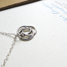 Load image into Gallery viewer, Mom birthday gifts, 3 Generations jewelry, infinite circle love knot necklace, mother necklace, birthday gift from granddaughter, grandma - RayK designs