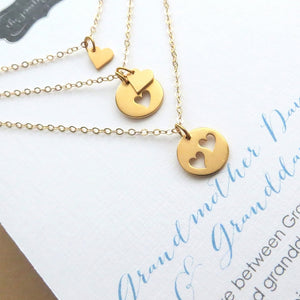3 Generations heart cutout necklace set - RayK designs