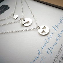 Load image into Gallery viewer, 3 Generations heart cutout necklace set - RayK designs