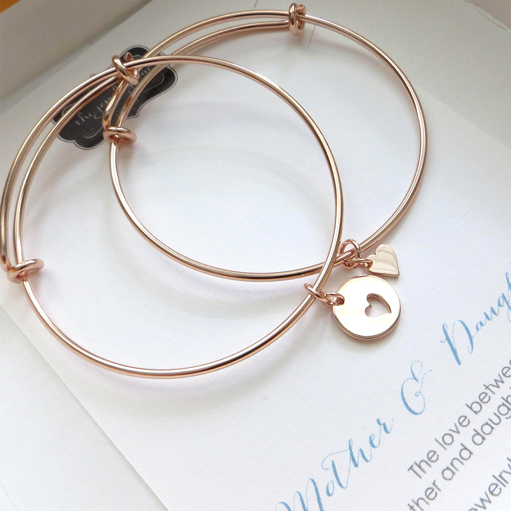Mother daughter jewelry, rose gold heart bangle bracelet, birthday gift for mom, pink, heart disk, mother daughter gift, expandable - RayK designs
