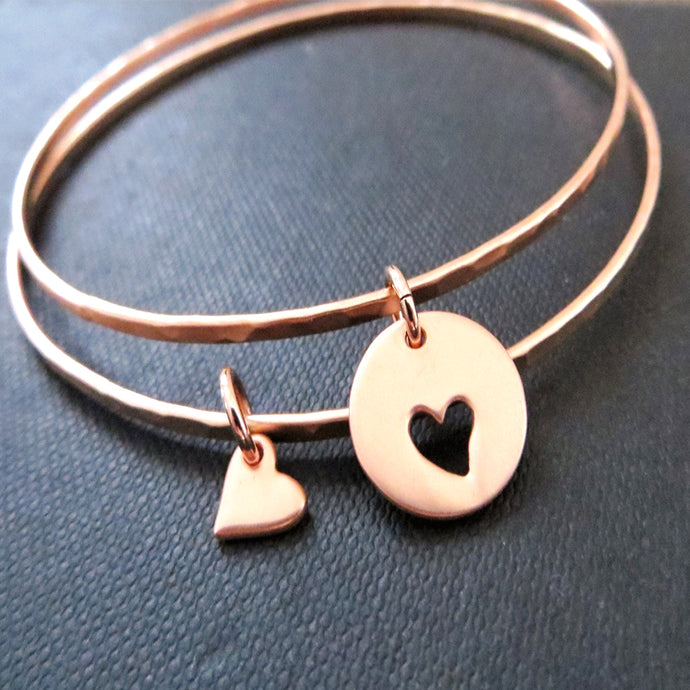 Rose gold mother daughter bracelets,  set of 2 bangles for mom and daughter, gift for her - RayK designs