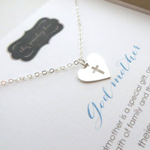 Load image into Gallery viewer, Godmother heart cross necklace - RayK designs