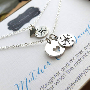 Mother daughter compass heart necklace set - RayK designs