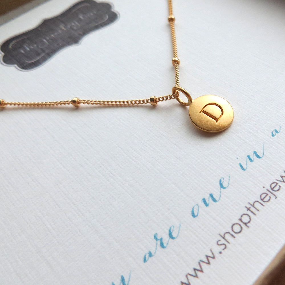 Gold initial necklace, personalized jewelry, you are one in a million, 24k gold disk letter charm, monogram, gift for her minimalist jewelry - RayK designs